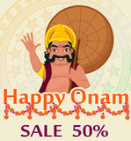 King Mahabali. Happy Onam festival in Kerala. Poster with ornament for sale. Vector illustration on abstract background Stock Photo