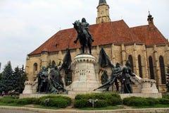 King Matthias Corvin Statue. In Cluj-Napoca, Romania royalty free stock photos