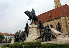 King Matthias Corvin Statue. In Cluj-Napoca, Romania stock image