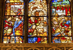 King Merchants Stained Glass Salamanca New Cathedral Spain Royalty Free Stock Photography
