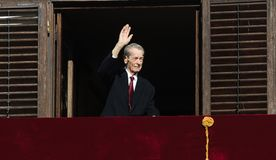 King Mihai I of Romania. Waves his hand to the public at Elisabeta Palace in Bucharest, Romania, during the Open Doors Event organised by the Romanian Royal Royalty Free Stock Images