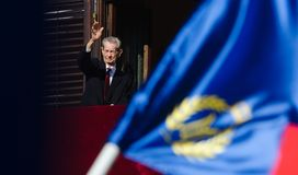 King Mihai I of Romania. Waves his hand to the public at Elisabeta Palace in Bucharest, Romania, during the Open Doors Event organised by the Romanian Royal