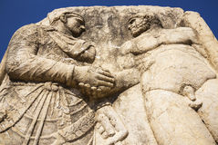 King Mithridates shaking hands with god Herakles Stock Photo