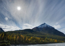 King Mt Fall. The sun sets on King Mountain on a beautiful fall day Stock Photos