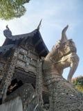 King of Naga annd Ubosodh Lanna style undet big two hundred year Yang tree Stock Image