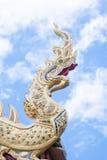 King of naga. King of golden naga with blue sky Royalty Free Stock Photography