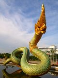 King of Naga statue. Thai dragon or king of Naga statue in thommasart university, Thailand Royalty Free Stock Photography