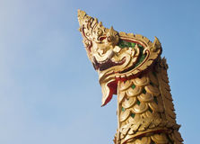King of naga statue in thai temple Royalty Free Stock Images