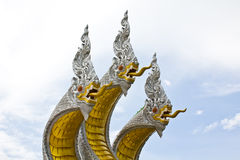 King naga three head. In thai temple Stock Photos