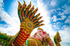 King of nagas. This is the Naga with big pink elephant Royalty Free Stock Image