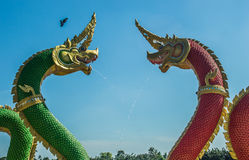 King of nagas. Art decorated in Buddhist Church temple Thailand Stock Photo