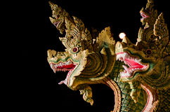 Dragon or Nagas. King of Nagas figure at Thailand temple Royalty Free Stock Photography