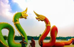 King of Nagas. Naga on the river front at Wat Samarn, chachoengsao Thailand Royalty Free Stock Photos