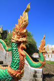 King of nagas2. The sculpture king of nagas usually decor at the stair in public temple of Thailand Stock Photography