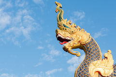 King of Nagas statue, Thai traditional style in Budha temple Royalty Free Stock Image
