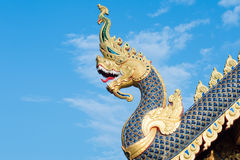 King of Nagas statue, Thai traditional style in Budha temple Stock Photo