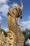 King of  nagas. King of nagas, When you go to buddhist temple. You will see king of nagas at handrail. This naga in picture is north art of Thailand Stock Image