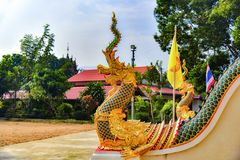 King of Nags. Serpent `s Snake Is life It is the sacred creature of Buddhism. A sculpture in the temple of northern Thailand Stock Photos