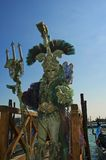 King Neptune of Venice. Stands at the Grand Canal and waits for Carnivale Royalty Free Stock Photo