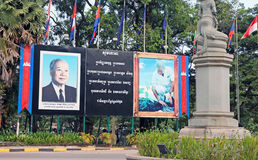 King Norodom Sihanouk. Billboard in memory of the late king Norodom Sihanouk who died in October 2012, Siem Reap,Cambodia Royalty Free Stock Photography