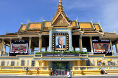 King Norodom Sihanouk memorial portrait. Cambodia's former king Norodom Sihanouk, died in Beijing on October 15, 2012 at the age of 89. Mourners offerd prayers Stock Images