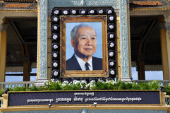 King Norodom Sihanouk memorial portrait. Cambodia's former king Norodom Sihanouk, died in Beijing on October 15, 2012 at the age of 89. Mourners offerd prayers Stock Photos