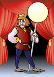 King of opera. Illustration of a medieval king hold sign banner cartoon on opera stage background Royalty Free Stock Image