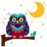 King owl against a star night sky Royalty Free Stock Photography