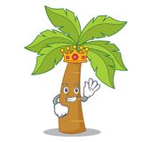 King palm tree character cartoon. Vector illustration royalty free illustration