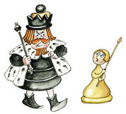 King and pawn. Cartoon chess king and pawn isolated Royalty Free Stock Images