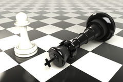 King and Pawn Chess Board Royalty Free Stock Images