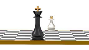 King and Pawn. On Chessboard, 3D Render Royalty Free Stock Photo