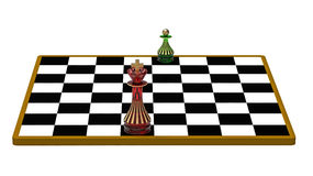 King and Pawn. On Chessboard, 3D Render Royalty Free Stock Image