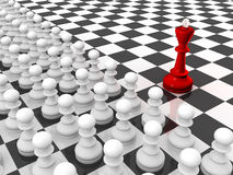 King and Pawns. Chess. Red king and rows of white pawns on chessboard. Leader and team Stock Illustration