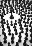 King and pawns. Black chess king surrounded by black pawns Stock Photography