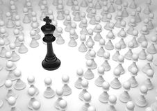 King and pawns. Black chess king surrounded by white pawns Stock Images