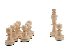King with pawns. Pawn near the King against the others Stock Photos