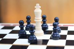 King and pawns closeup Stock Photos