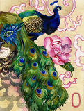 King of peacocks watercolor. Abstract watercolor art in chinese style with vibrant peacock and man in a feather mask and a peony flower Stock Photo