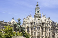 King Pedro IV statue Porto, in Porto, Portugal. Royalty Free Stock Images