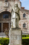 King Pelayo (Christian king of Asturias) in Covadonga Sanctuary,. Statue of Don Pelayo, victor of battle at Covadonga and first King of Asturias Stock Images