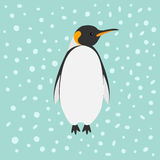 King Penguin Emperor Aptenodytes Patagonicus Snow in the sky Flat design Winter antarctica background Royalty Free Stock Photography