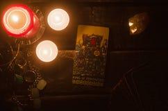 Tarot card. Future reading. Divination. King of pentacles Tarot card. Fortune teller stock photography