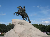 King Peter I the Great. Monument to king Peter I the Great in St. Petersburg, Russia Stock Photos
