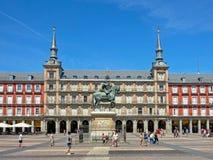 King Philip statue in front of Casa de la Panadería  on Plaza Mayor, Madrid Royalty Free Stock Images