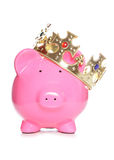King piggy bank. Studio cutout Royalty Free Stock Photography