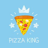 King pizza vector cartoon flat and doodle illustration. Crown and stars icon Stock Photo