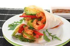 King Prawn - Avocado Wrap Stock Images