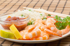 King prawn with an egg and fried rice Stock Image