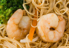 King Prawn and Rice Noodles Stock Photos